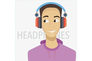 Young cartoon man with headphones