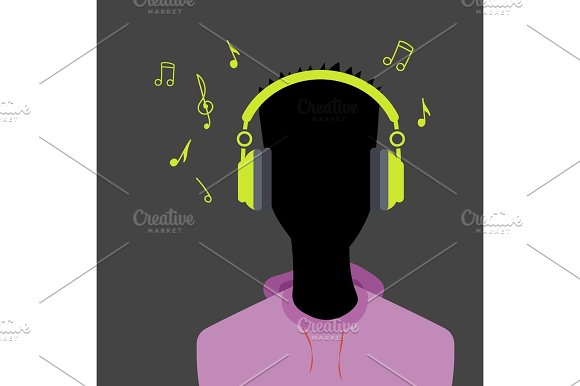 Man Face Silhouette With Headphone