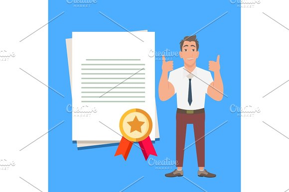 Businessman Showing Thumbs Up For Quality Assurance