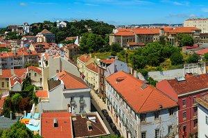 Lisbon city summer panorama.