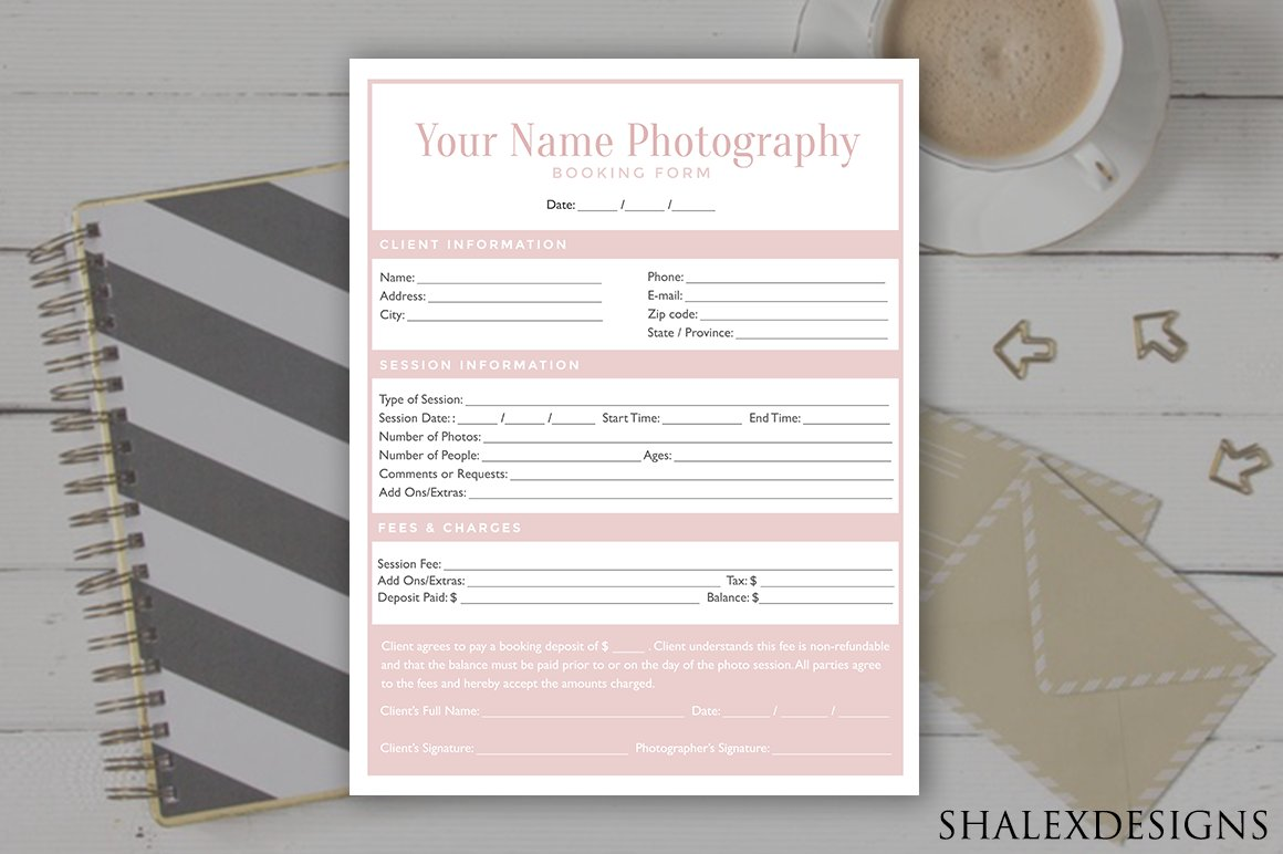 Booking form template stationery templates creative market falaconquin