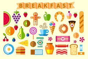 Good Breakfast Flat Icon Set
