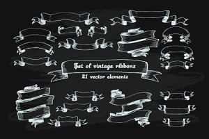 Vintage ribbons at chalkboard