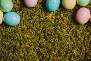 Candy Easter Eggs on Moss