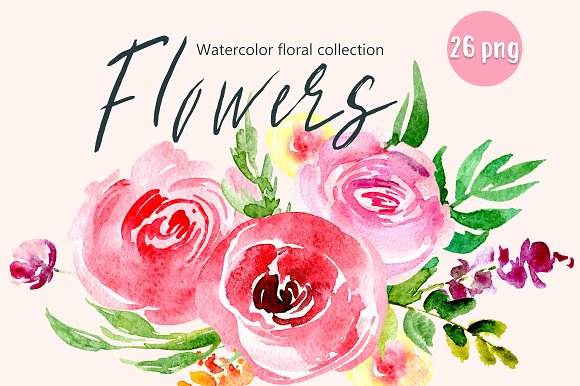 Watercolor Red Pink Flowers