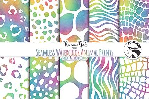 Seamless Watercolor Animal Prints br