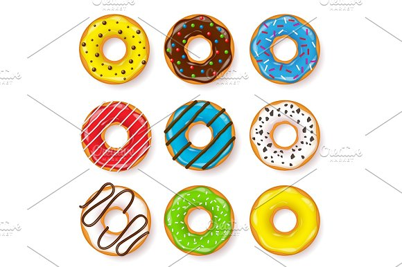 Donut Begel With Cream Cookies Cookie Cake Set Sweet Dessert With Sugar Caramel Tasty Breakfast Cooking Cafateria Food Snack Coffee Shop.Vector Illustration