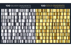 Gold,silver gradient,pattern,template.Set of colors for design,collection of high quality gradients.Metallic texture,shiny background.Pure metal.Suitable for text ,mockup,banner, ribbon or ornament.