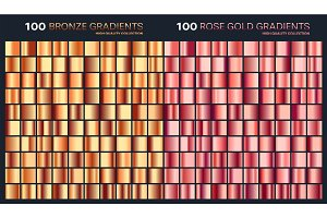 Rose gold,bronze gradient,pattern,template.Set of colors for design,collection of high quality gradients.Metallic texture,shiny background.Pure metal.Suitable for text,mockup,banner,ribbon ,ornament.