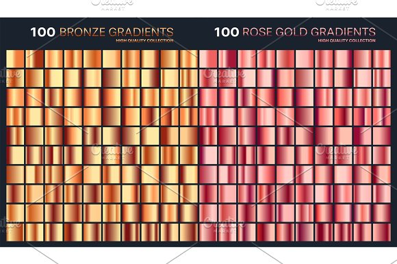 Rose Gold Bronze Gradient Pattern Template.Set Of Colors For Design Collection Of High Quality Gradients.Metallic Texture Shiny Background.Pure Metal.Suitable For Text Mockup Banner Ribbon Ornament