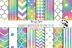 Seamless Watercolor Patterns #1 BR