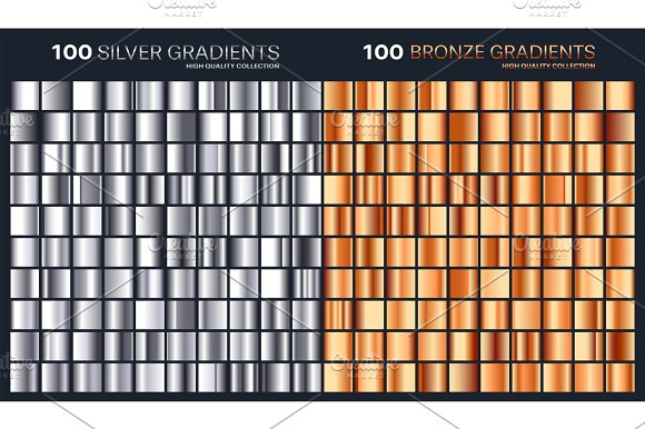 Silver Bronze Gradient Pattern Template.Set Of Colors For Design Collection Of High Quality Gradients.Metallic Texture Shiny Background.Pure Metal.Suitable For Text Mockup Banner Ribbon Or Ornament