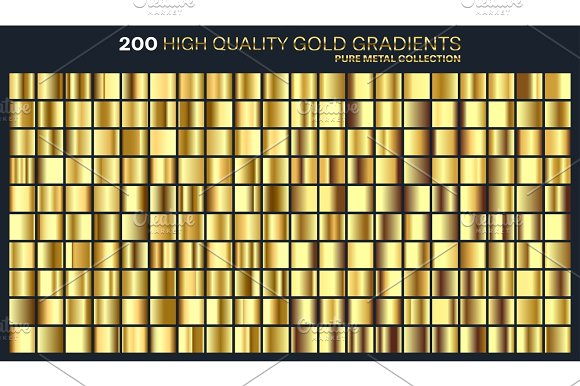 Gold Golden Gradient Pattern Template.Set Of Colors For Design Collection Of High Quality Gradients.Metallic Texture Shiny Background.Pure Metal.Suitable For Text Mockup Banner Ribbon Or Ornament