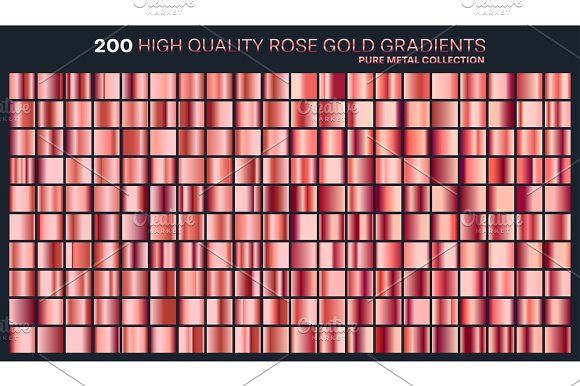 Rose Gold Gradient Pattern Template.Set Of Colors For Design Collection Of High Quality Gradients.Metallic Texture Shiny Background.Pure Metal.Suitable For Text Mockup Banner Ribbon Or Ornament
