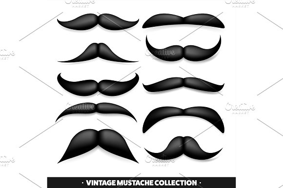 Mustache Isolated On White Black Vector Vintage Moustache Facial Hair.Barber Shop Retro Collection Hipster Beard