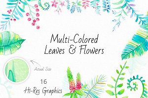 Watercolor Leaves & Flowers
