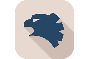 Eagle or a falcon head logo blue bird vector stylized graphics with pseudo flat shadow quality art illustration