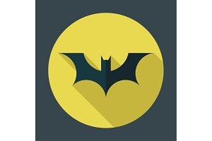 logo bat background of the moon, on flat style vector illustrations brand