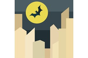 Illustration bat on background the moon over city in style of flat stylized vector.