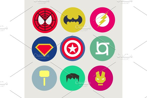 Icons Abstract Tweaked For Superheroes And Supervillains Flat Style Vector