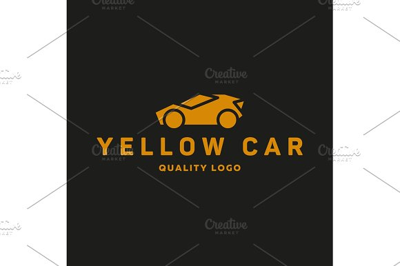Yellow Abstraction Car Icon Vector Logo Flat Style Art