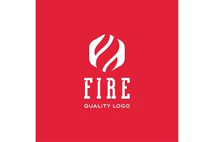 Logo sign flame fire quality flat style icon vector art