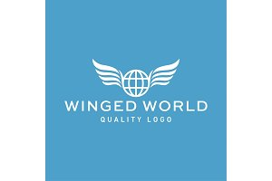 Winged planet earth abstract vector high-quality flat trend art