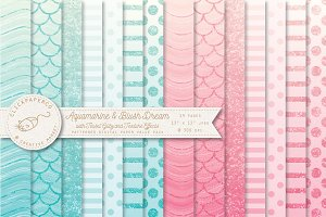 Aquamarine and Blush Ombre Patterns