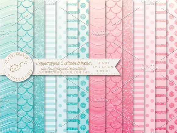 Aquamarine And Blush Ombre Patterns