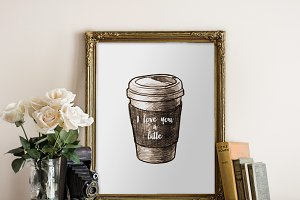 love you a latte - printable art