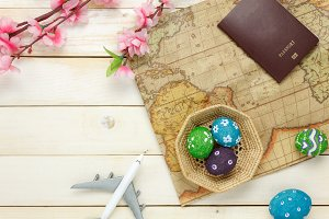 Happy Easter with travel items.