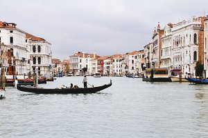 Venice Grand canal with gondolas