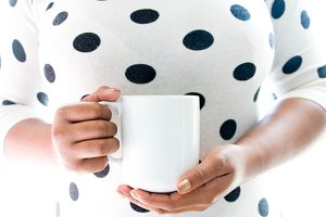 Women with Coffee Mug Mockup