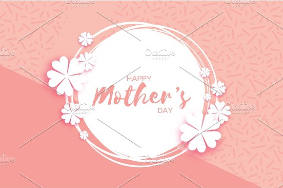 Pink Happy Mothers Day Paper Cut Floral Greeting Card Circle Frame