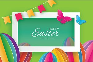 Origami Happy Easter. Colorful Paper cut Easter Egg, flag, butterfly. Rectangle frame. Green background
