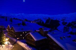 Ski resort in moonlight.