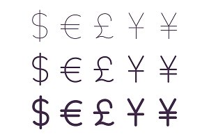 Set of currency signs