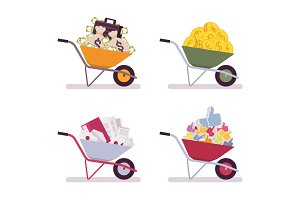 Set of wheelbarrows full money, coins, paper, likes