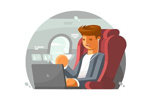 Businessman on plane