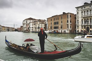 Venice Grand canal with gondola
