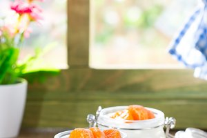 Natural yogurt of mandarins