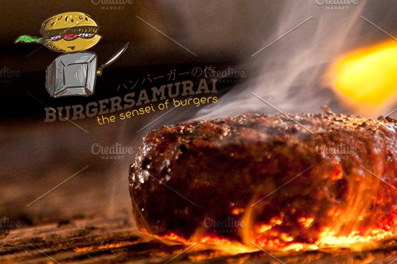 Burger Samurai Sensei of burgers in Logo Templates - product preview 2