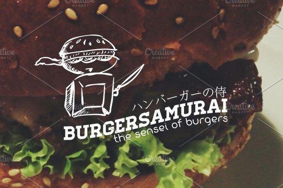 Burger Samurai Sensei of burgers in Logo Templates - product preview 3