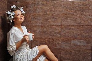 Homemaker drinking morning coffee