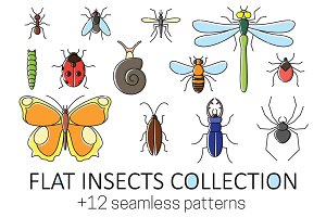 Insect collection in flat style