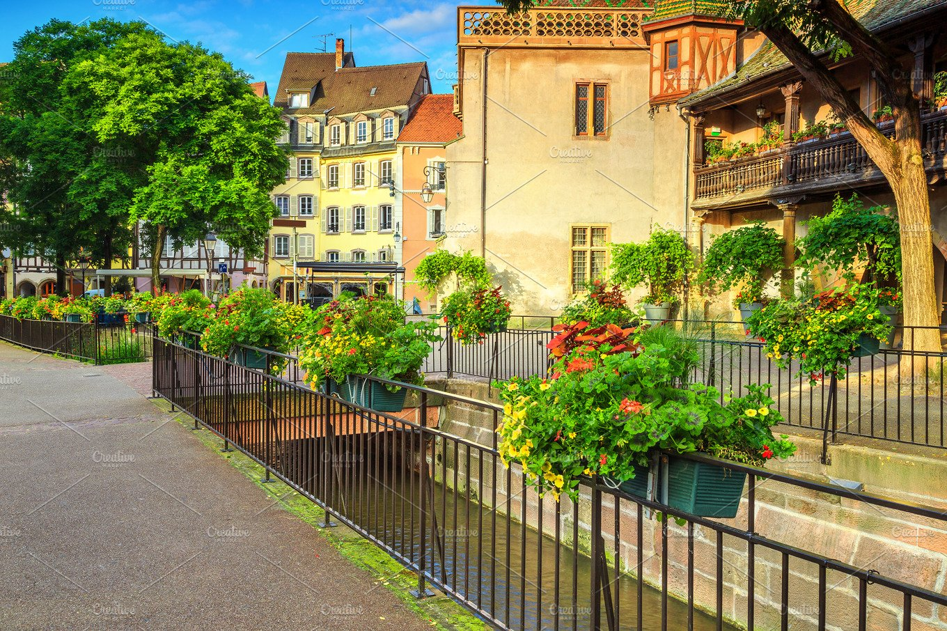beautiful street in colmar france architecture photos creative market. Black Bedroom Furniture Sets. Home Design Ideas