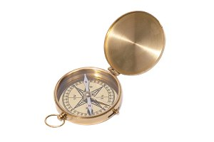 Golden ancient compass