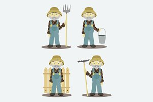 Farmer isolated vector illustration
