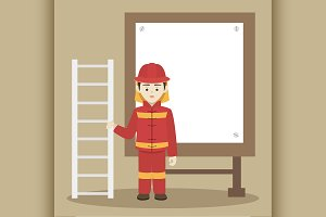 Fireman isolated vector illustration
