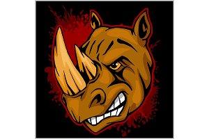 Rhino athletic design complete with rhinoceros mascot vector illustration